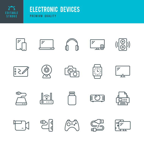 Electronic Devices - set of thin line vector icons Set of 20 Electronic Devices thin line vector icons. Smart Phone, Laptop, Camera, Smart Watch, Desktop PC and so on game controller stock illustrations