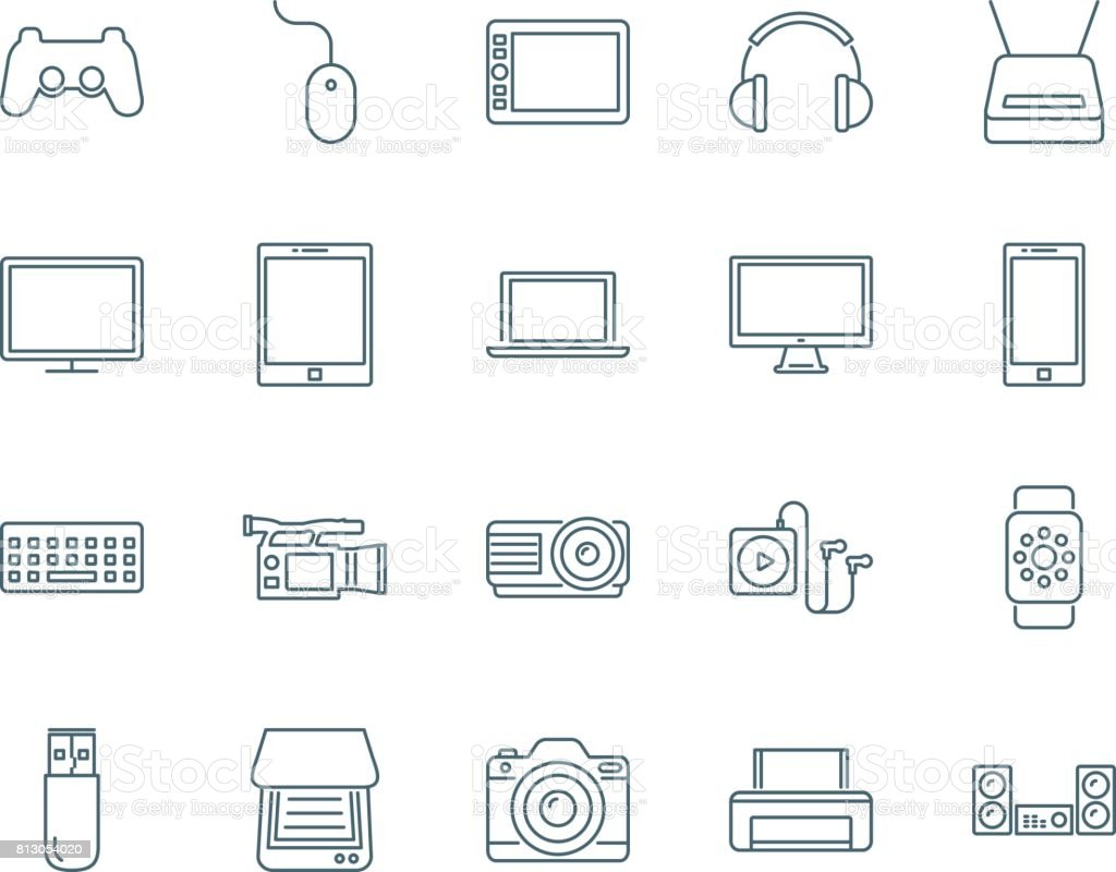 Electronic devices set of vector icons vector art illustration
