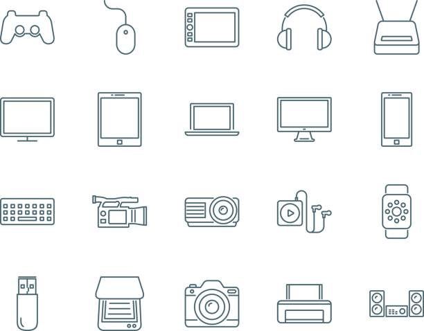 electronic devices set of vector icons - computer stock illustrations