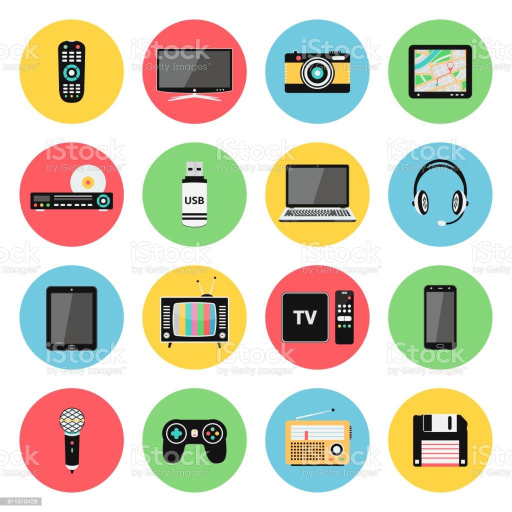 Elektronische Geräte, Technik-Gadgets-Symbole – Vektorgrafik