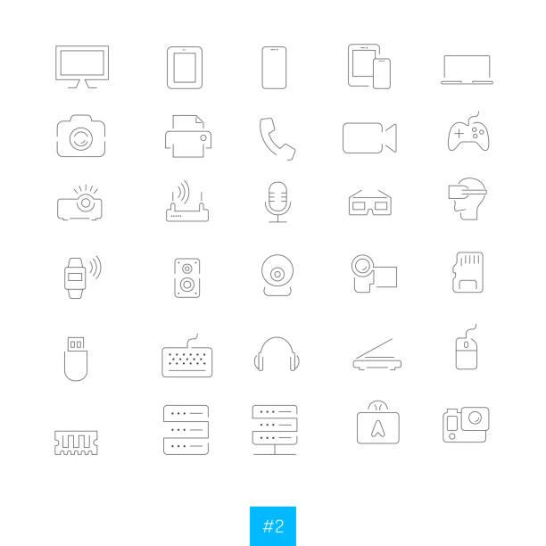stockillustraties, clipart, cartoons en iconen met elektronische apparaten - gopro