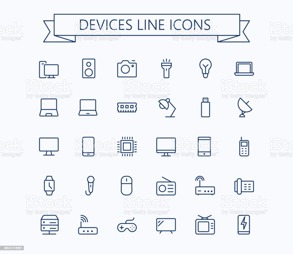 Electronic devices vector thin line mini icons set. 24x24 Grid. Pixel Perfect.Editable stroke.