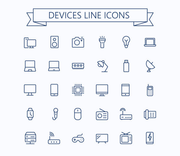 Electronic devices vector thin line mini icons set. 24x24 Grid. Pixel Perfect.Editable stroke. Electronic devices vector thin line mini icons set. 24x24 Grid. Pixel Perfect.Editable stroke. eps 10 cell phone charger stock illustrations
