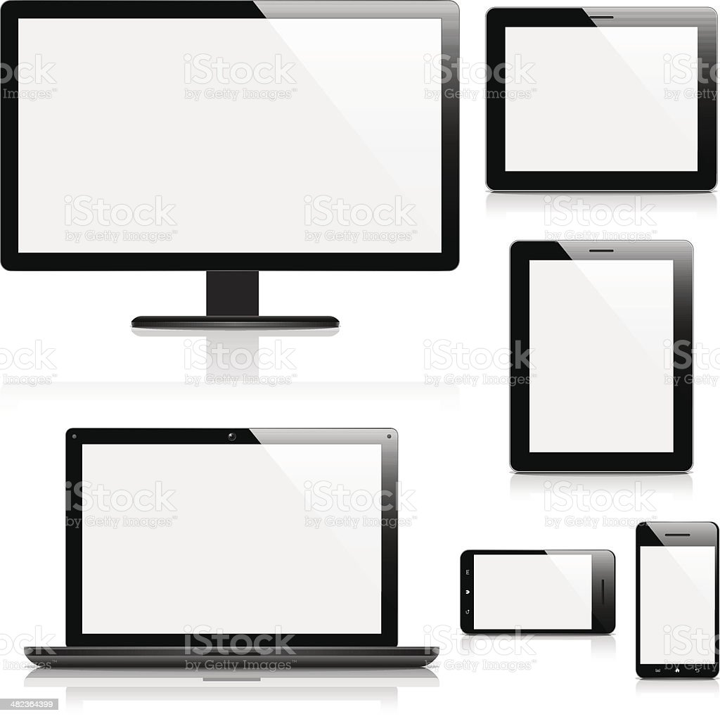 Electronic devices with blank screens vector art illustration