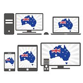 Electronic devices with the map of Australia