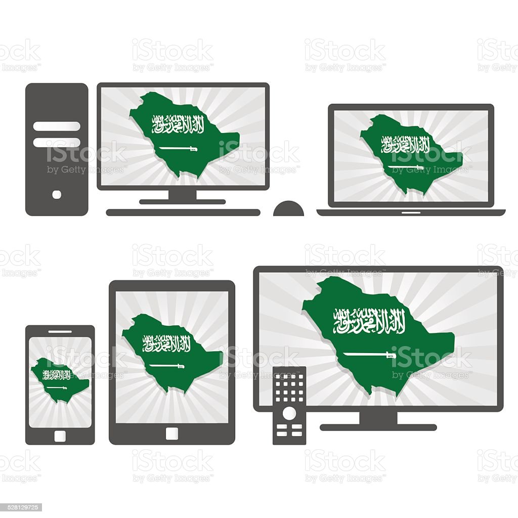 Electronic devices with the map of Saudi Arabia vector art illustration