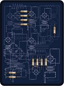 Vector illustration of an electronic diagram with some circuits on top. It´s not specific to any technical machine but rather just to be used as a texture.