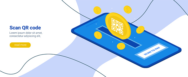 Electronic digital payment from a smartphone. Scan the QR code on your phone. Scan to pay. The concept of dollar coins and scanning, technology and business concept. Vector horizontal banner.