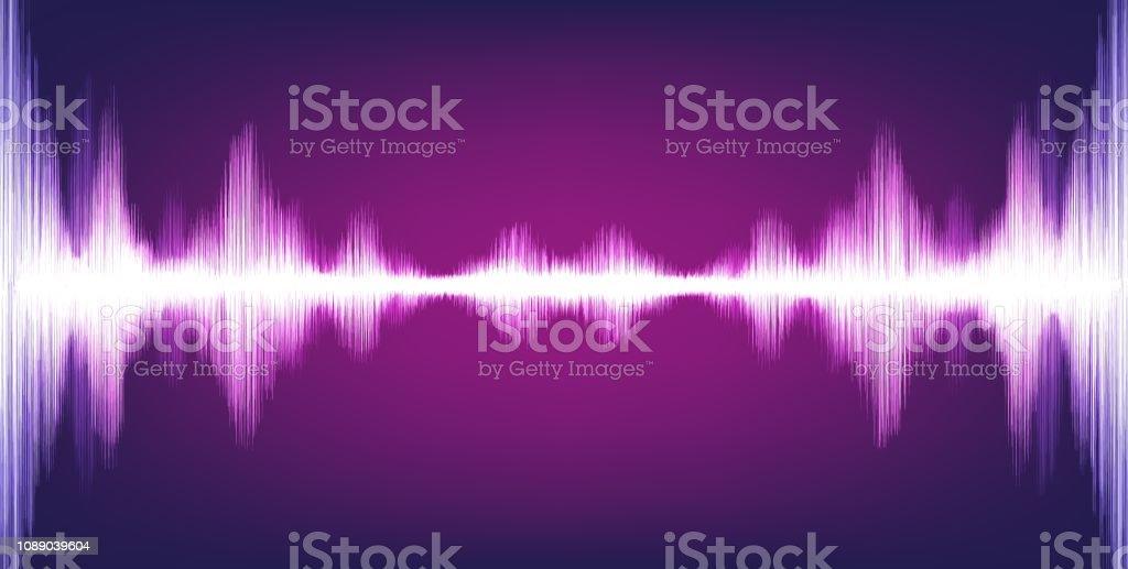 Electronic Digital Sound Wave with Circle Vibration on Light Purple...