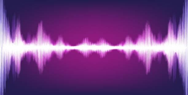 elektronische digital sound wave mit kreis vibration auf lila hintergrund licht, technik und erdbeben welle-diagramm-konzept, design für musikstudio und wissenschaft, vektor-illustration. - sound wave grafiken stock-grafiken, -clipart, -cartoons und -symbole