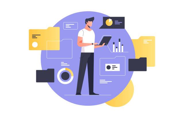 elektroniczne zarządzanie dokumentami - menadżer stock illustrations