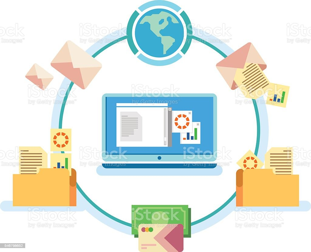 Electronic document management vector art illustration