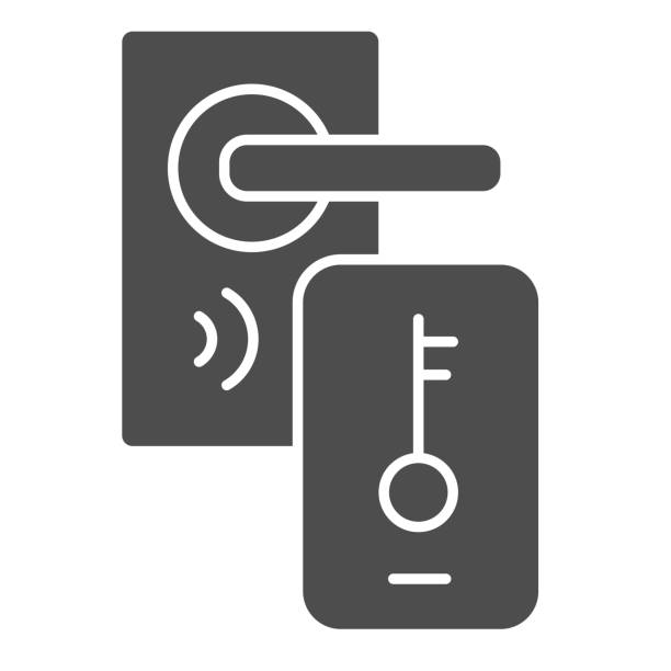 ilustrações de stock, clip art, desenhos animados e ícones de electronic door lock and key on smartphone solid icon, smart home symbol, mobile remote unlocking home door vector sign on white background, smart lock system icon in glyph style. vector. - isolated house, exterior