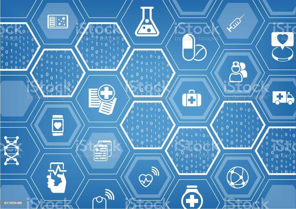 Fundo de eletrônico e-saúde azul vector com formas hexagonais - ilustração de arte em vetor
