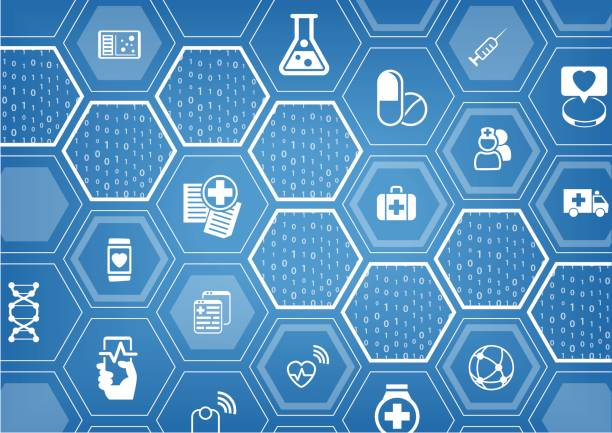 electronic e-healthcare blue vector background with hexagonal shapes - medical equipment stock illustrations, clip art, cartoons, & icons