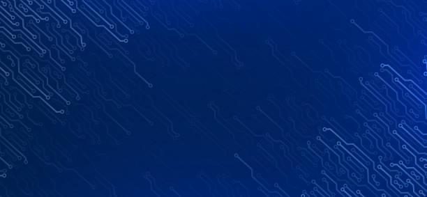 Elektronische Elemente auf dunkelblauem Hintergrund – Vektorgrafik