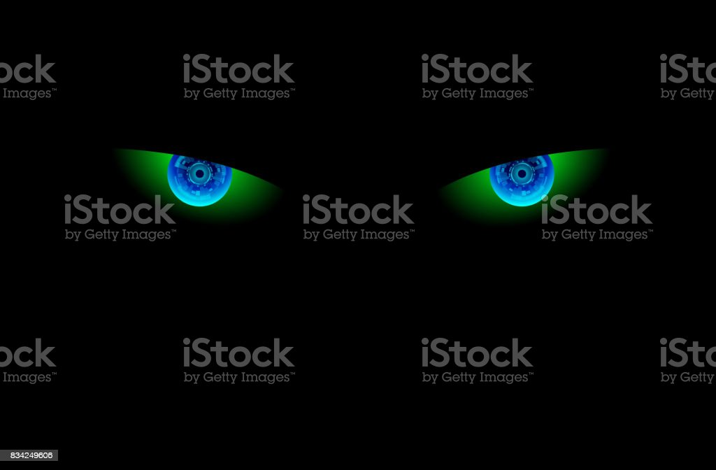 Electronic eye in dark vector art illustration