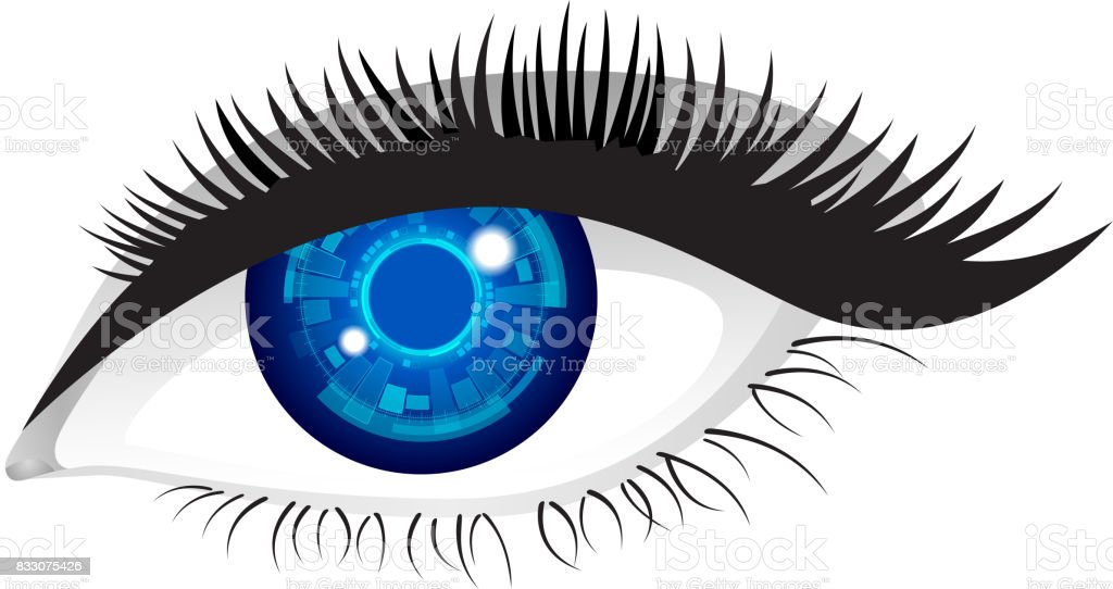 Electronic eye vector art illustration
