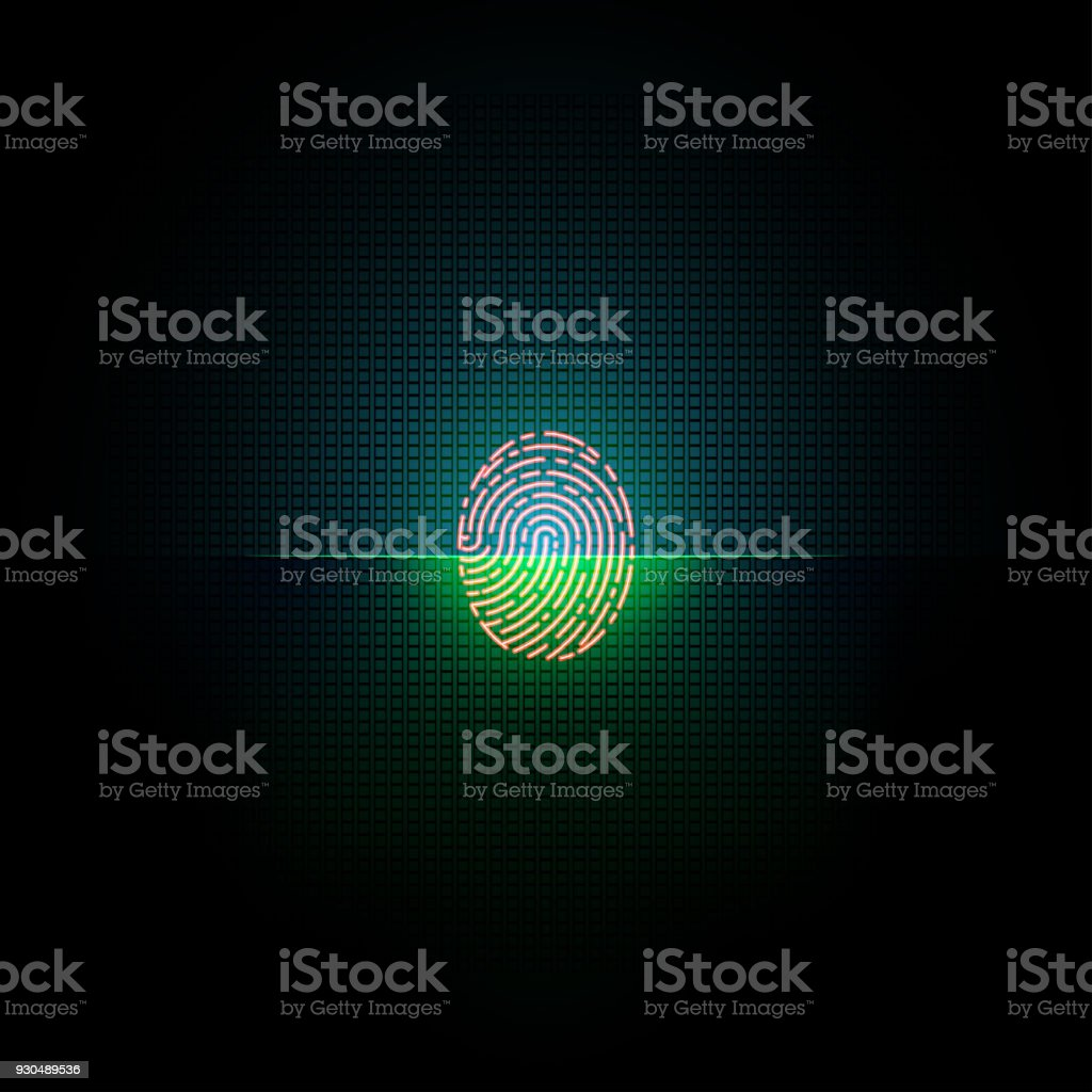 Electronic fingerprint on scanning screen. vector art illustration