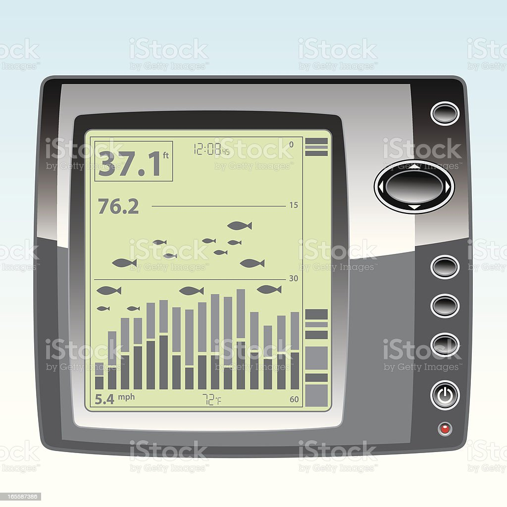 Electronic Fish Finder with LCD Display vector art illustration
