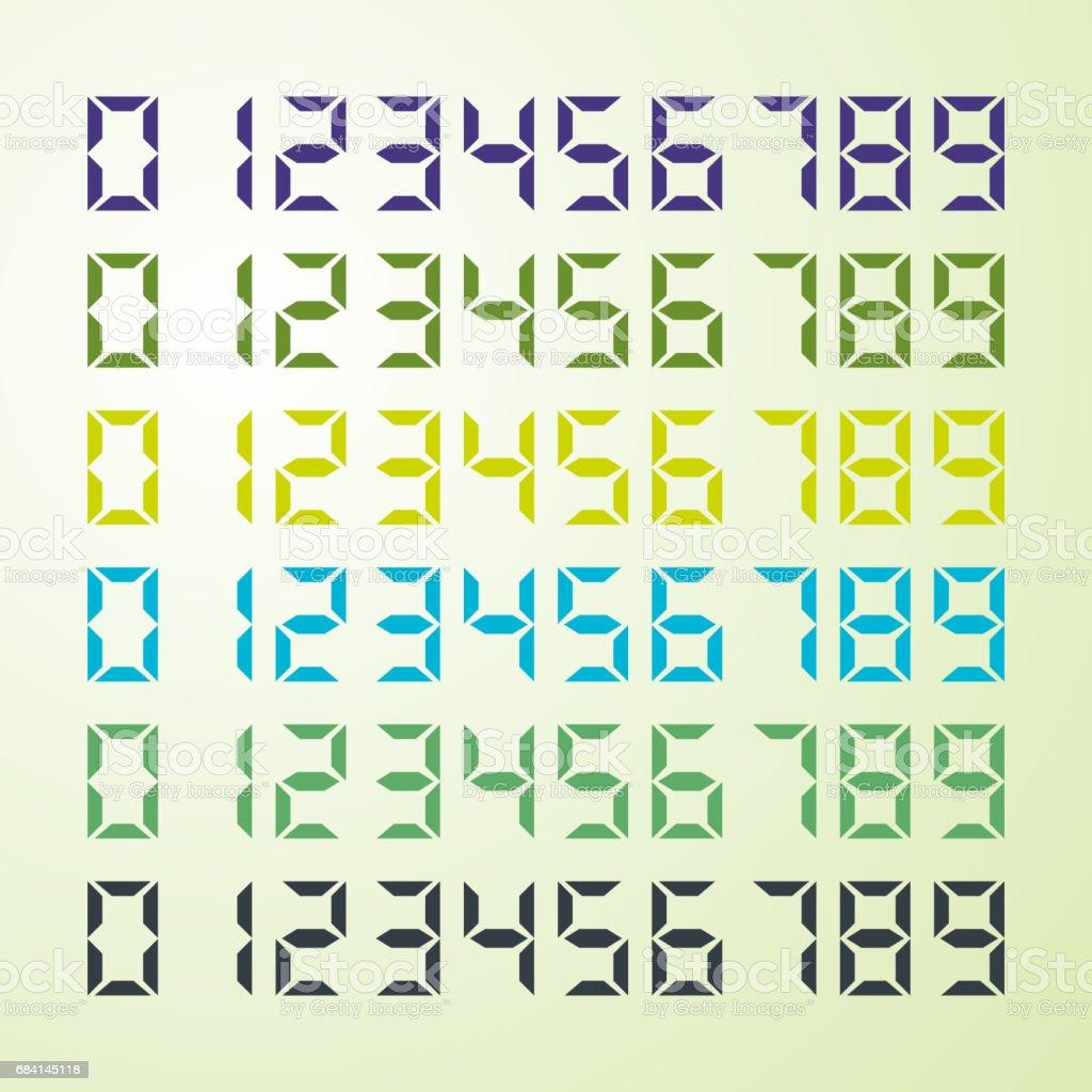 Electronic font, numbers royaltyfri electronic font numbers-vektorgrafik och fler bilder på butiksskyltning