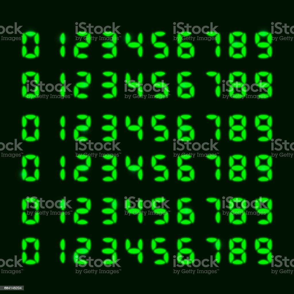 Electronic font, numbers electronic font numbers - immagini vettoriali stock e altre immagini di affari finanza e industria royalty-free