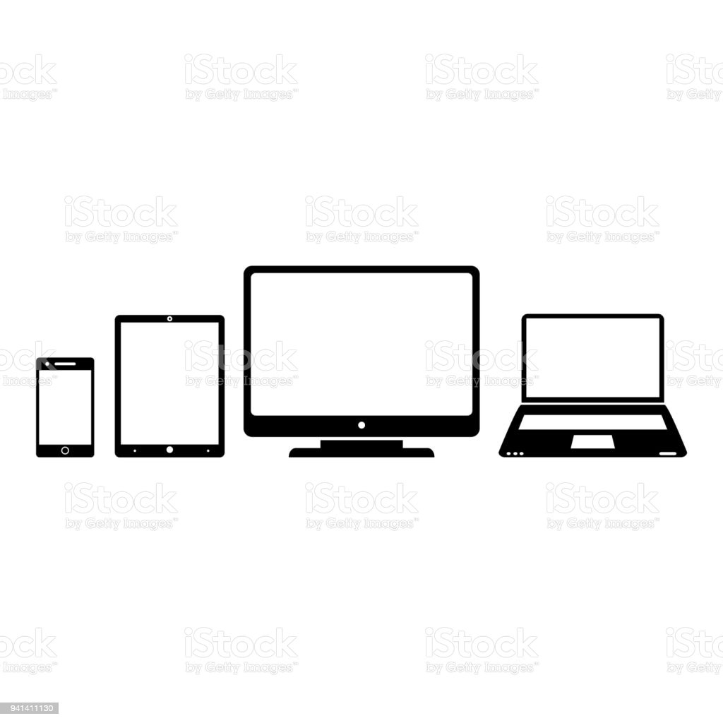 Electronic gadgets, smartphone, tablet, computer, notebook vector art illustration
