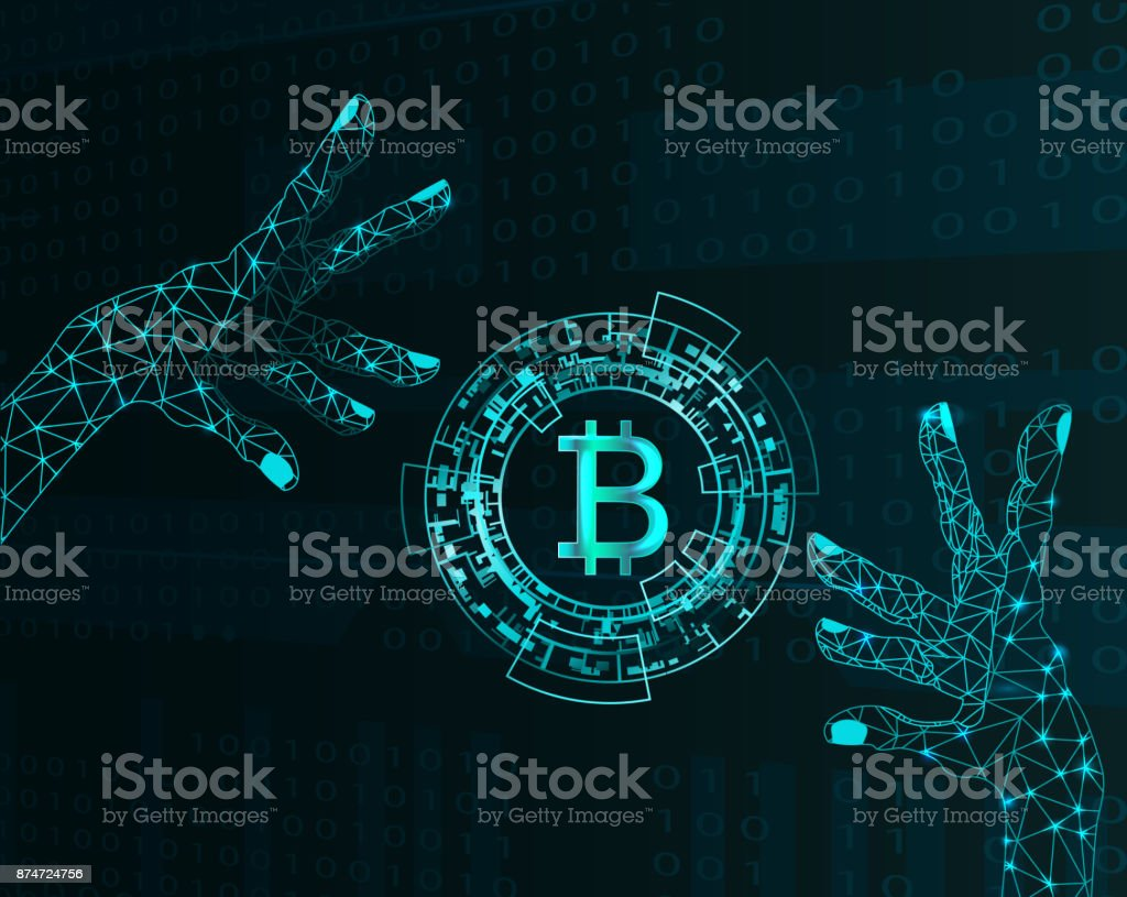 Electronic hands and bitcoin symbol. vector art illustration
