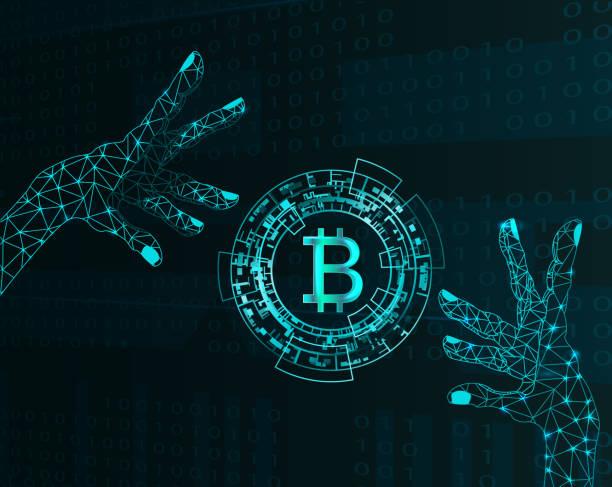 stockillustraties, clipart, cartoons en iconen met elektronische handen en bitcoin symbool. - bitcoin