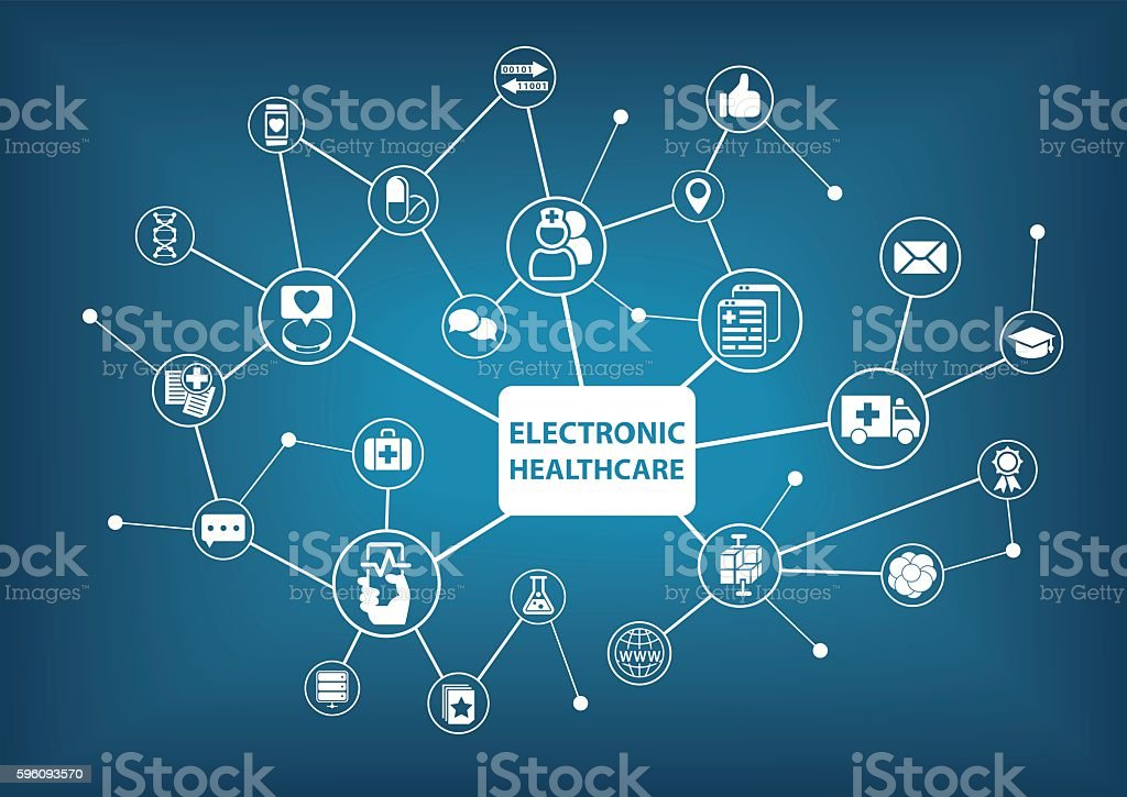 Electronic healthcare background as vector illustration in a digitized hospital royalty-free electronic healthcare background as vector illustration in a digitized hospital stock vector art & more images of abstract