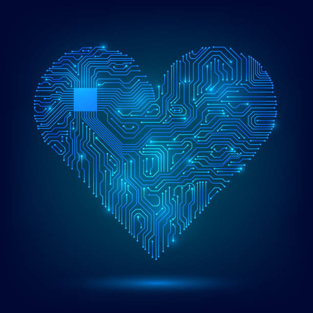 Electronic heart Electronic heart with a glowing microcircuit, love, technology, futuristic cardiology pacemaker stock illustrations