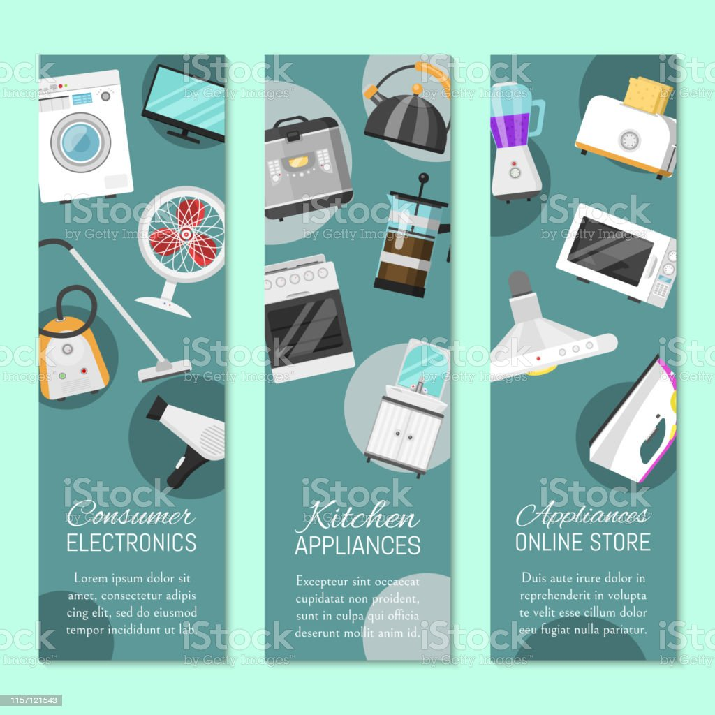 Electronic Household Appliances Set Of Banners Vector Illustration Kitchen And Home Equipment For House Washing Machine Vacuum Cleaner Microwave Oven Kettle Tv Set Stock Illustration Download Image Now Istock