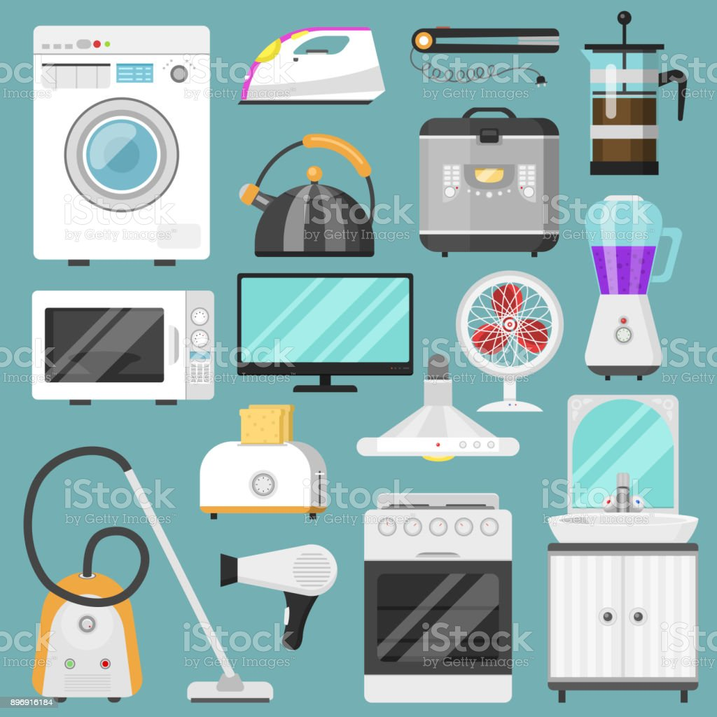 Electronic Household Appliances Vector Kitchen ...