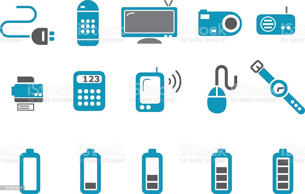Electronic icon set in blue and white royalty-free electronic icon set in blue and white stock vector art & more images of battery