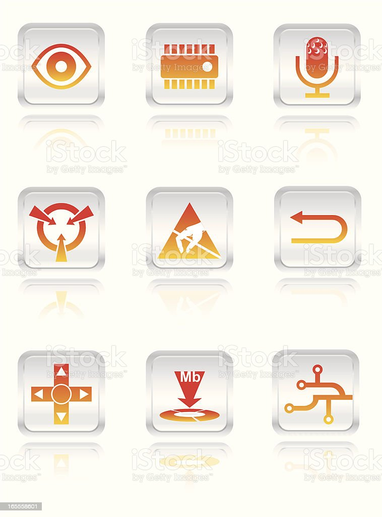 Electronic Icon Set vector art illustration