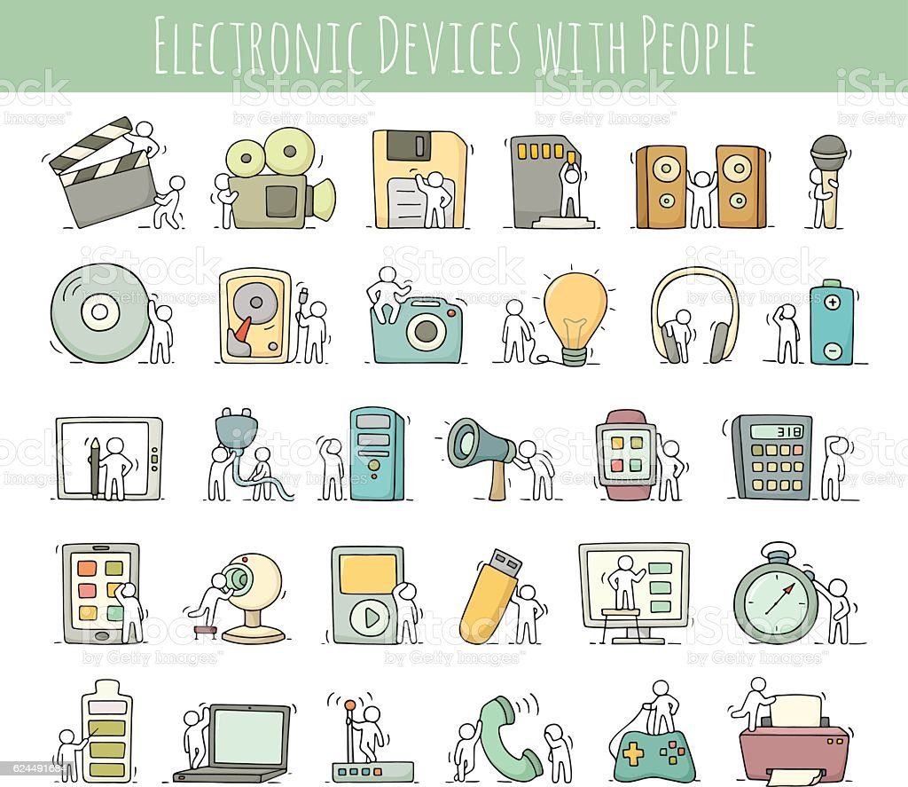 Electronic icons set of sketch working little people with comput vector art illustration