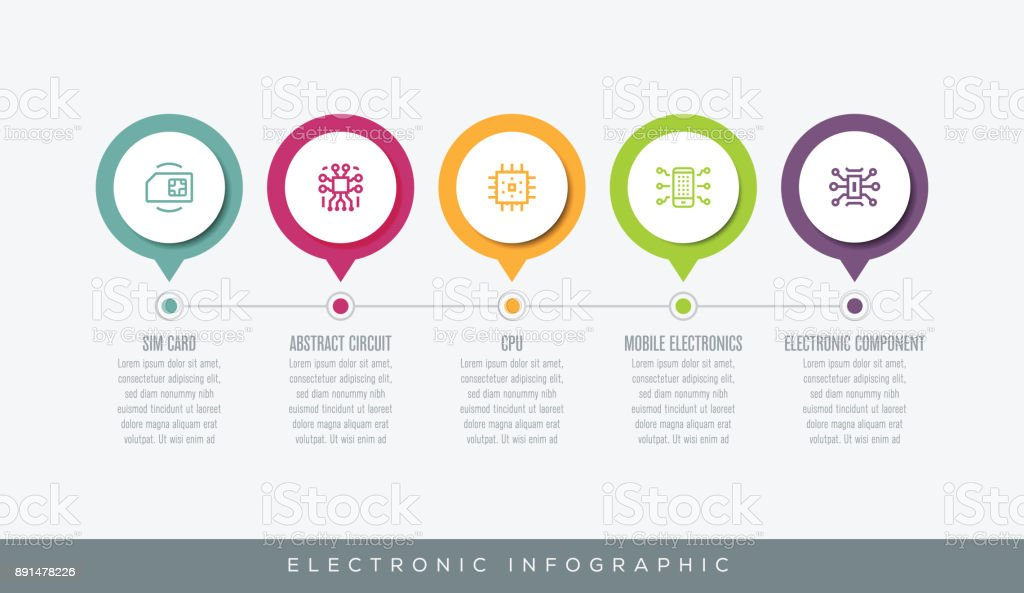 Electronic Infographic vector art illustration