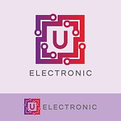 electronic initial Letter U icon design