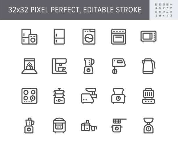 Electronic kitchen devices simple line icons. Vector illustration with minimal icon - fridge, dishwasher, oven, toaster, steam cooker, kettle, multicooker, hob. 32x32 Pixel Perfect. Editable Stroke Electronic kitchen devices simple line icons. Vector illustration with minimal icon - fridge, dishwasher, oven, toaster, steam cooker, kettle, multicooker, hob. 32x32 Pixel Perfect. Editable Stroke. dishwashing machine stock illustrations