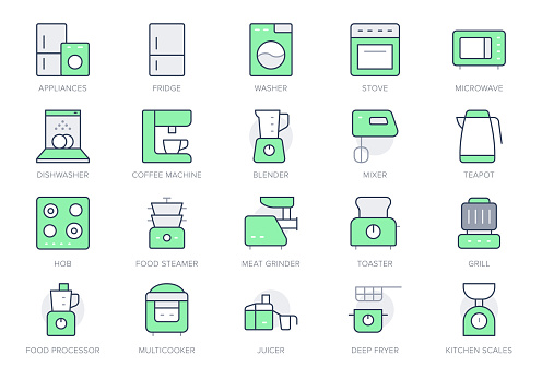 Electronic kitchen devices simple line icons. Vector illustration with minimal icon - fridge, dishwasher, oven, toaster, steam cooker, kettle, multicooker, hob. Green Color. Editable Stroke