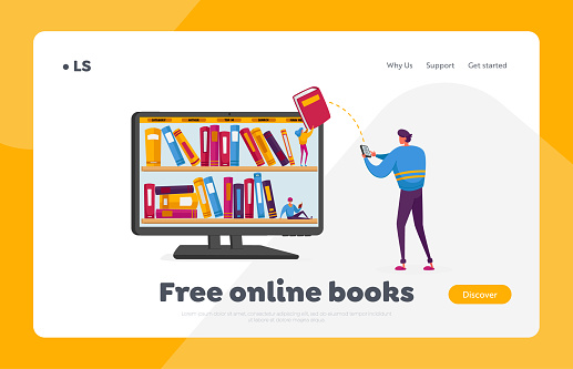 Electronic Library, E-Learning and Online Education Landing Page Template. Male Character Stand at Huge Pc with Books on Shelves on Screen Download E-books from Internet. Cartoon Vector Illustration