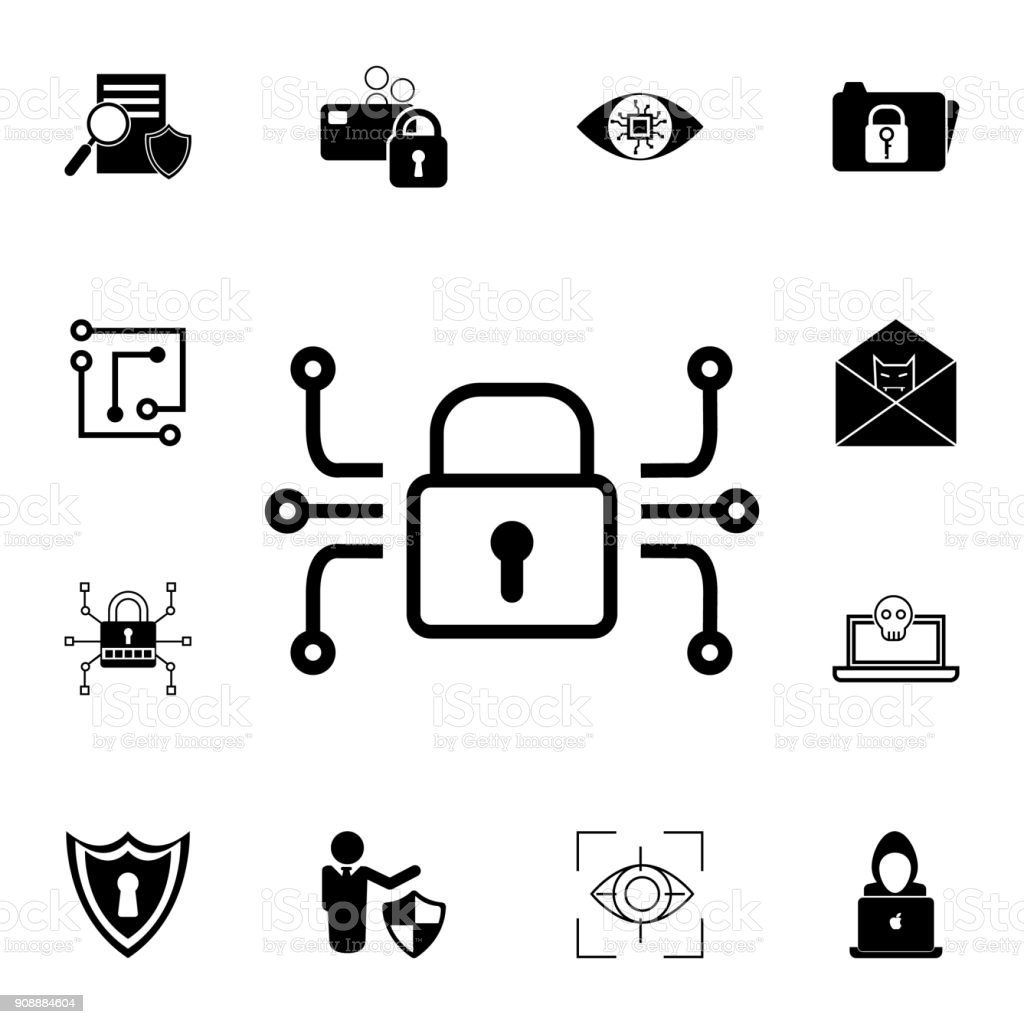 electronic lock icon. Set of cybersecurity icons. Signs, outline symbols collection, simple icons for websites, web design, mobile app, info graphics vector art illustration