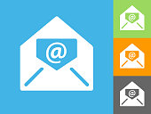 Electronic Mail  Flat Icon on Blue Background. The icon is depicted on Blue Background. There are three more background color variations included in this file. The icon is rendered in white color and the background is blue.