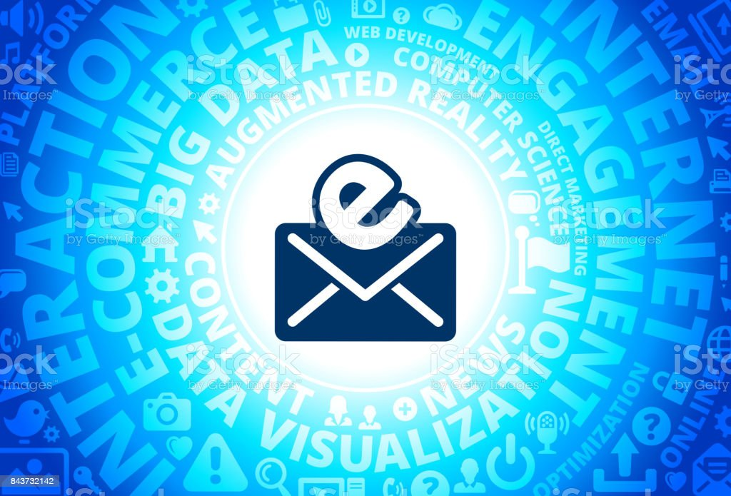 Electronic Mail Icon On Internet Modern Technology Words Background Royalty Free