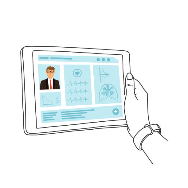 Elektronische Krankenakte, Hände halten Tablet. – Vektorgrafik