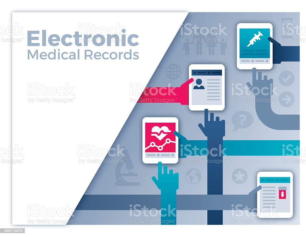 Electronic Medical Records vector art illustration