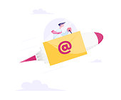 Electronic Message, Business E-mail Concept. Businessman Sitting inside of Spaceship Cabin Flying Fast to Sky on Rocket with Envelope and Email Symbol on Board. Cartoon Flat Vector Illustration