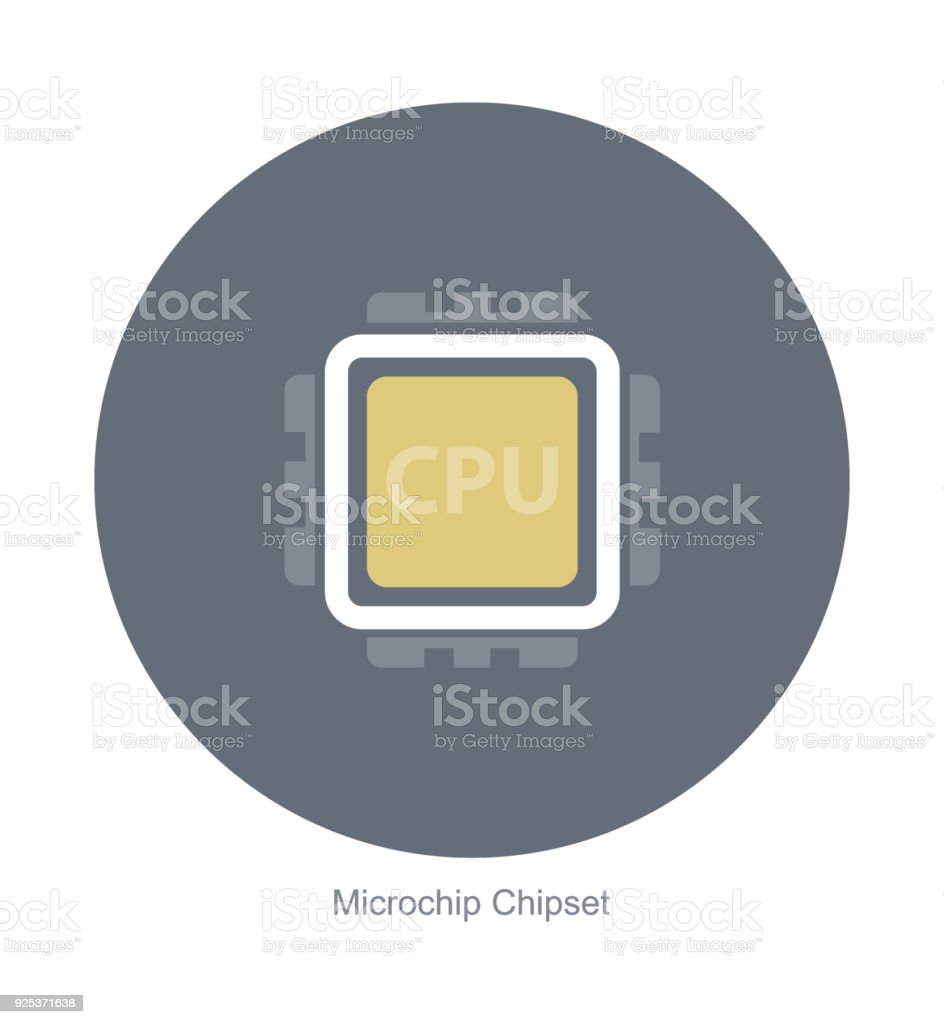 Electronic microchip components icons vector art illustration
