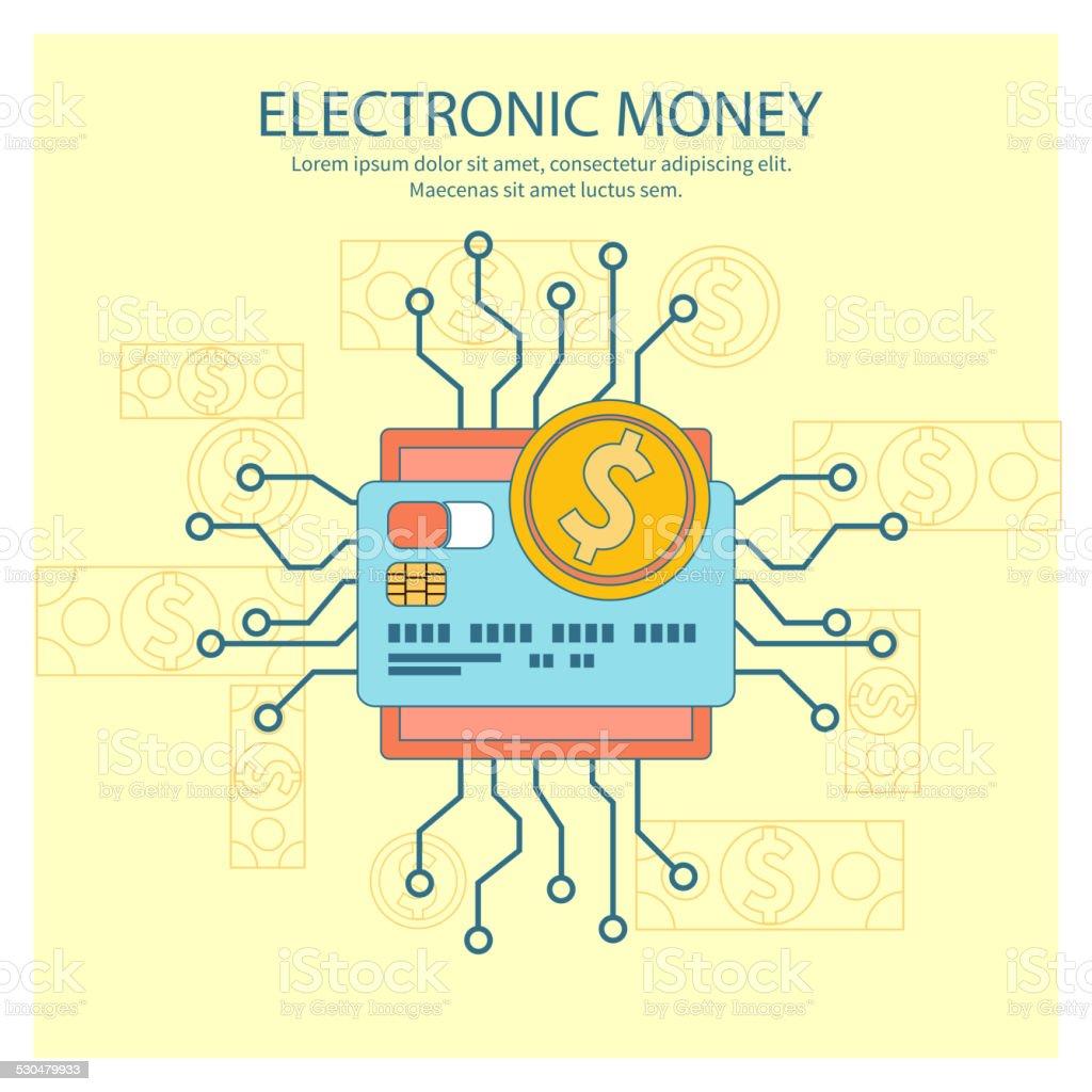 Electronic money concept vector art illustration