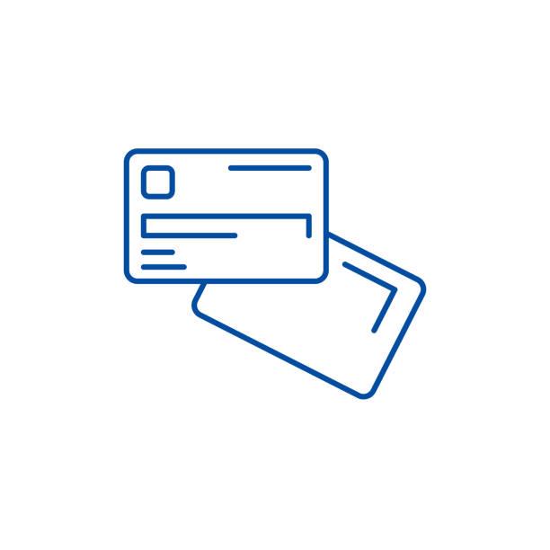 ilustrações de stock, clip art, desenhos animados e ícones de electronic money line icon concept. electronic money flat  vector symbol, sign, outline illustration. - paying with card